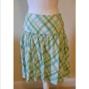 Loft Linen A Line Full Skirt Green Blue Plaid